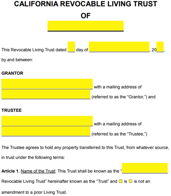 Free California Revocable Living Trust Form Pdf Word