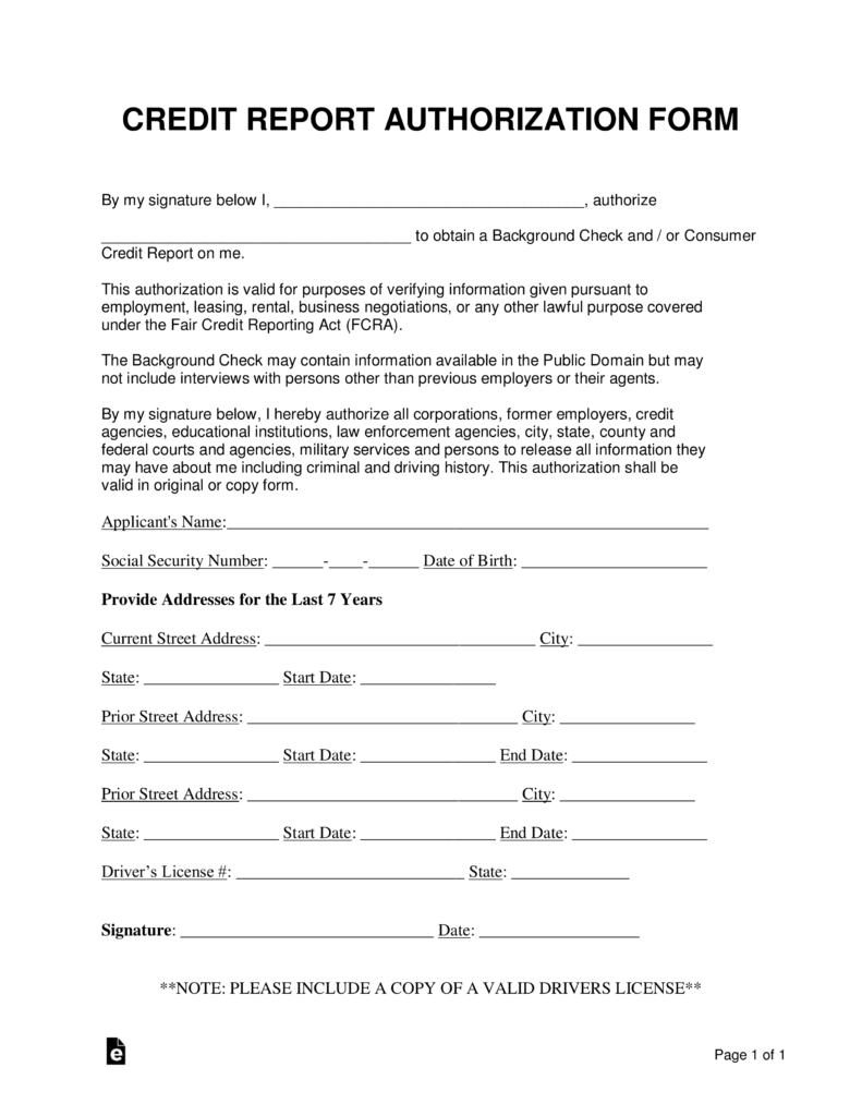 Free Credit Report Authorization Consent Form Word Pdf