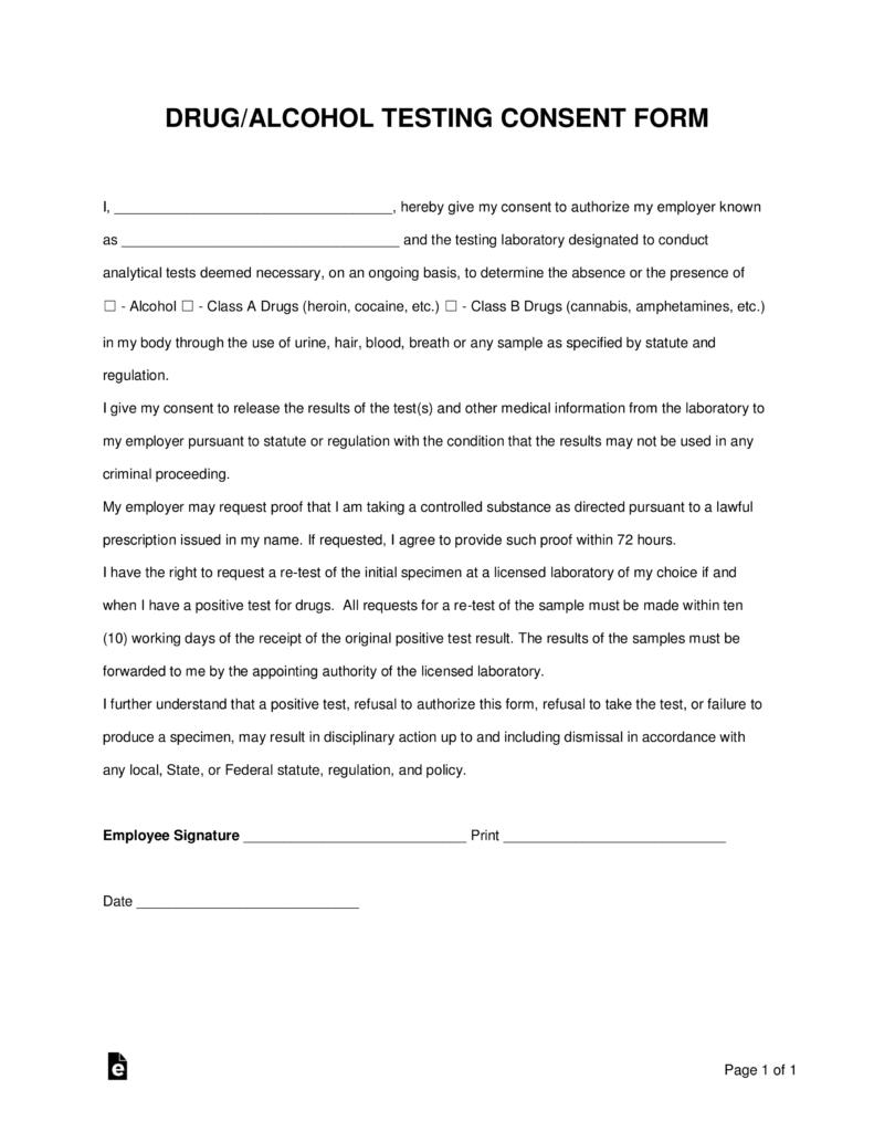 Free Drug Alcohol Testing Consent Form Word Pdf Eforms