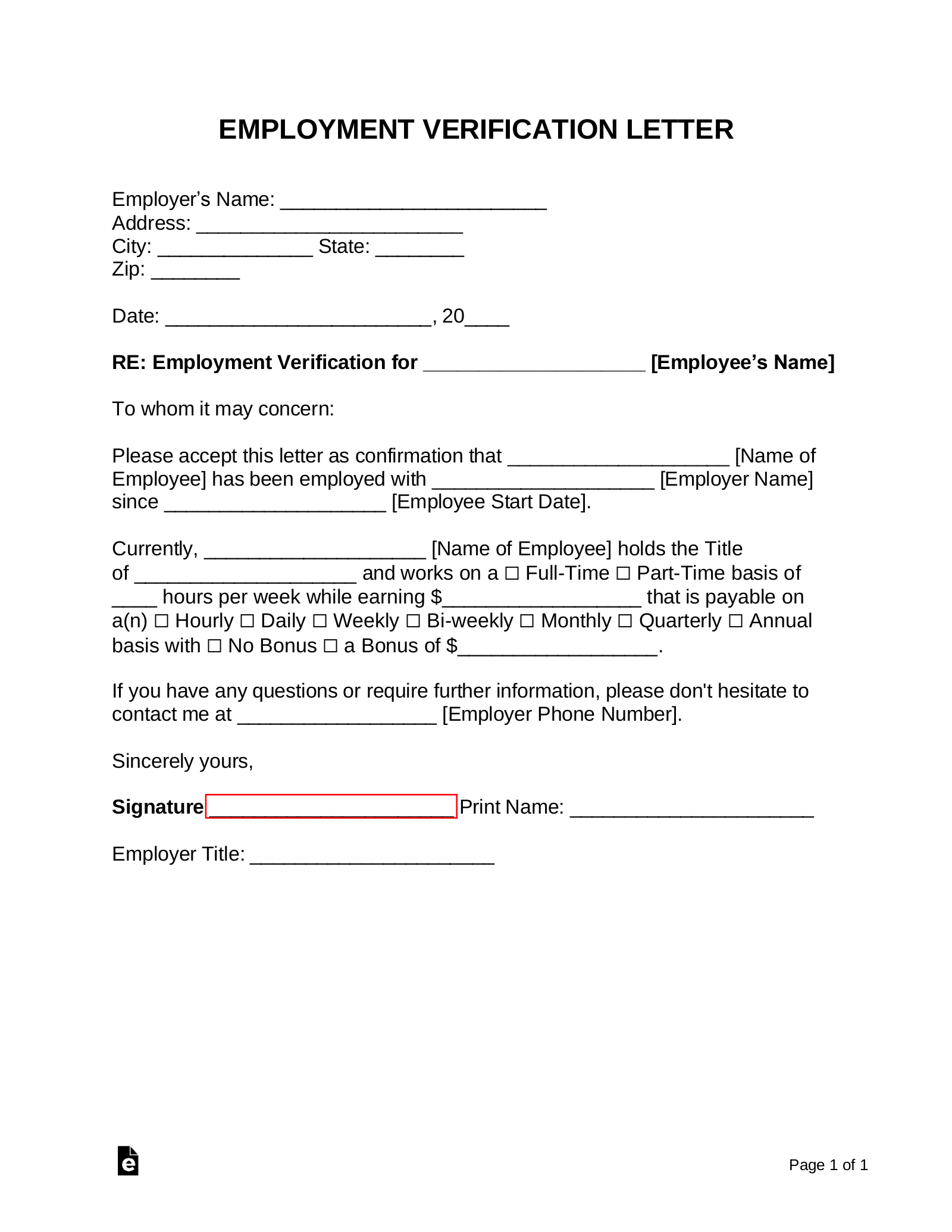 Free Employment Income Verification Letter Pdf Word