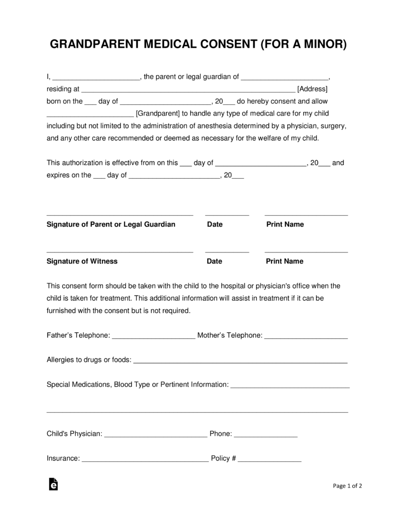 grandparents medical consent form minor child eforms free
