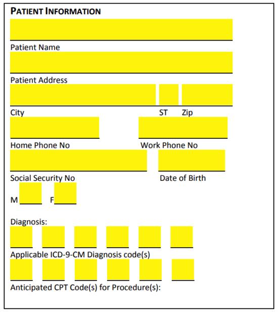 Printable insurance verification sheet.