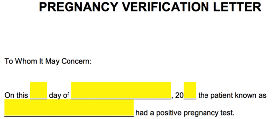 Free Pregnancy Verification Form Pdf Word Eforms