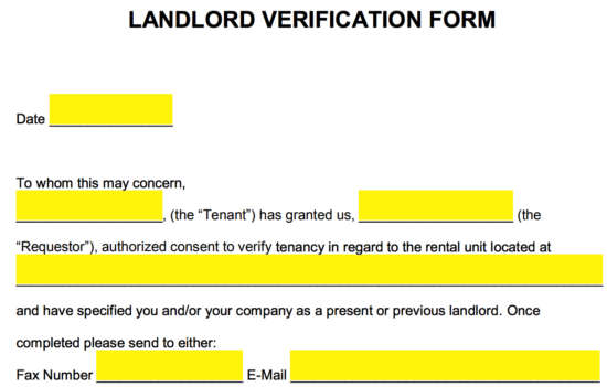 Free Rent (Landlord) Verification Form - Word | PDF | eForms – Free ...