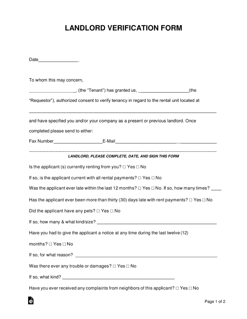 rent verification Free Rent (Landlord) Verification Form - Word | PDF | eForms – Free ...