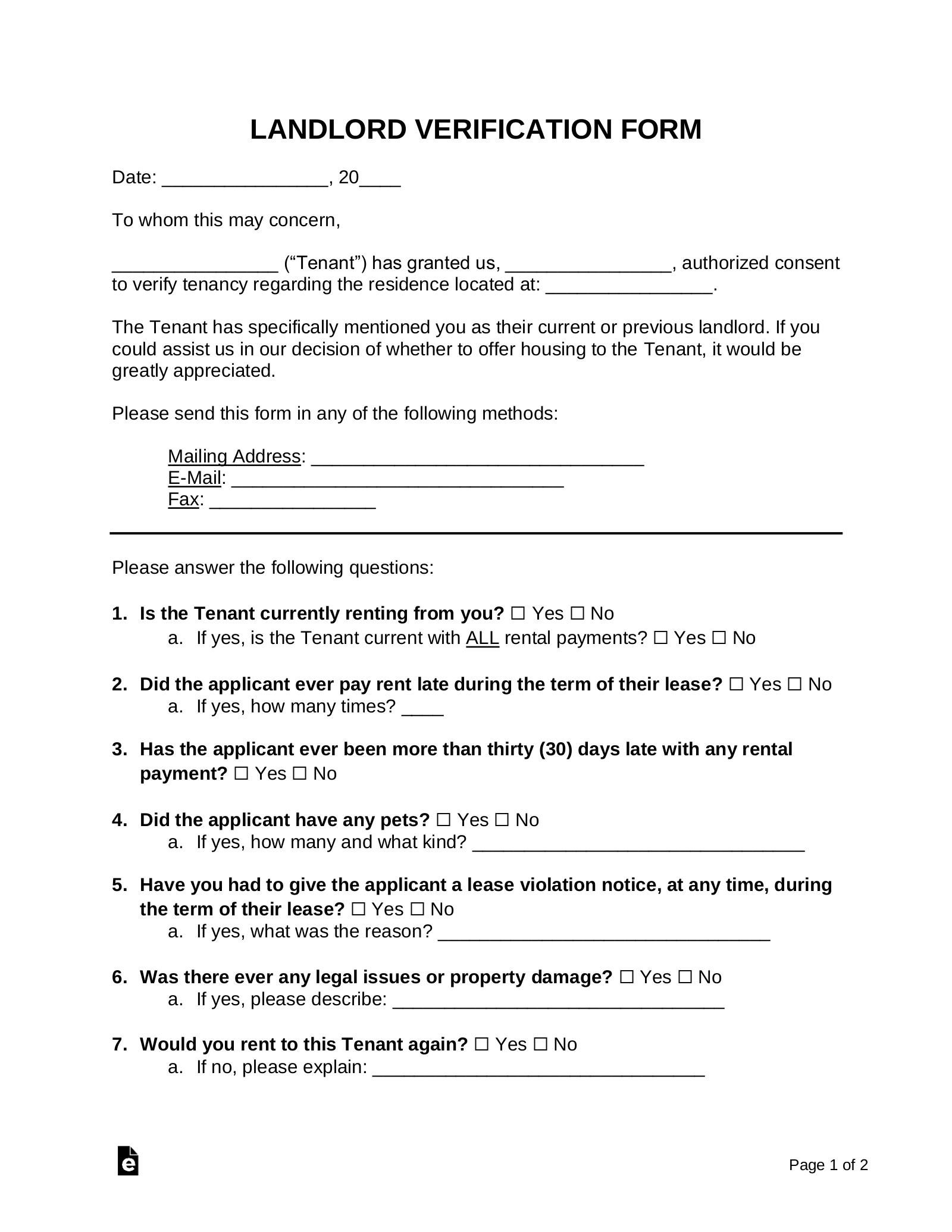 Free Rent Landlord Verification Form Pdf Word Eforms
