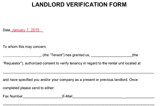 Free Rent (Landlord) Verification Form - PDF | Word | eForms