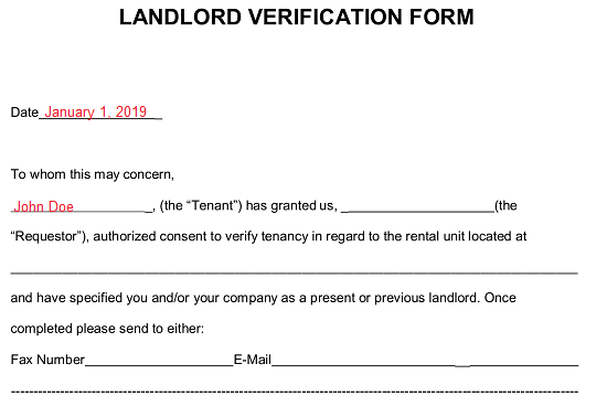 Free Rent (Landlord) Verification Form - PDF | Word | eForms – Free