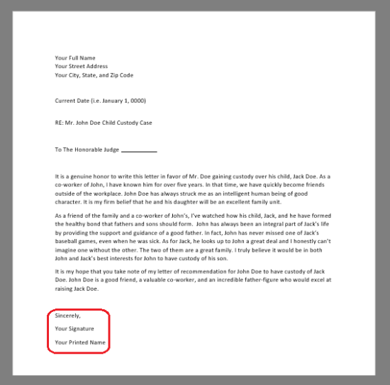 Free character reference letter for court template samples pdf finally use a standard closing ie sincerely signed best wishes etc spiritdancerdesigns Image collections