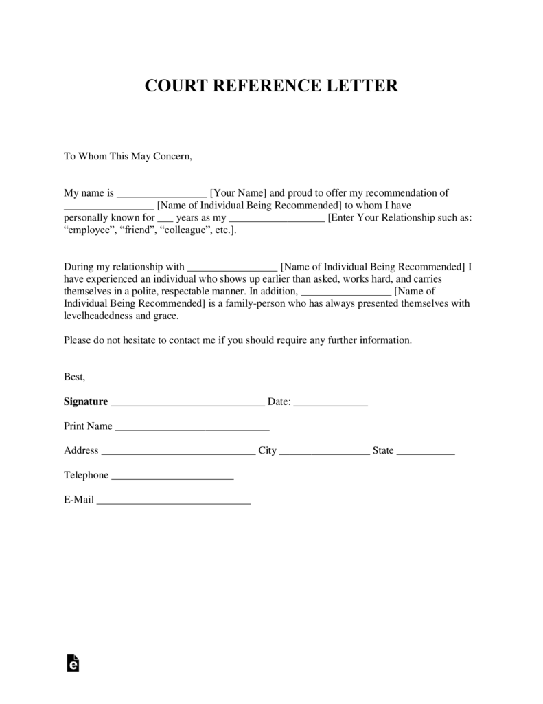 Free Character Reference Letter (for Court) Template   Samples