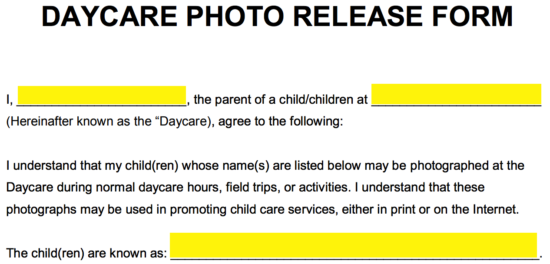 ... Can Start Filling In The Form By Entering Their Name In The First  Available Field. Following That, He/she Must Specify The Name Of The  Daycare And Enter ...