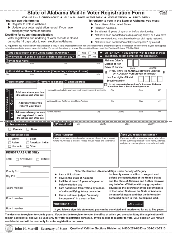 free alabama voter registration form