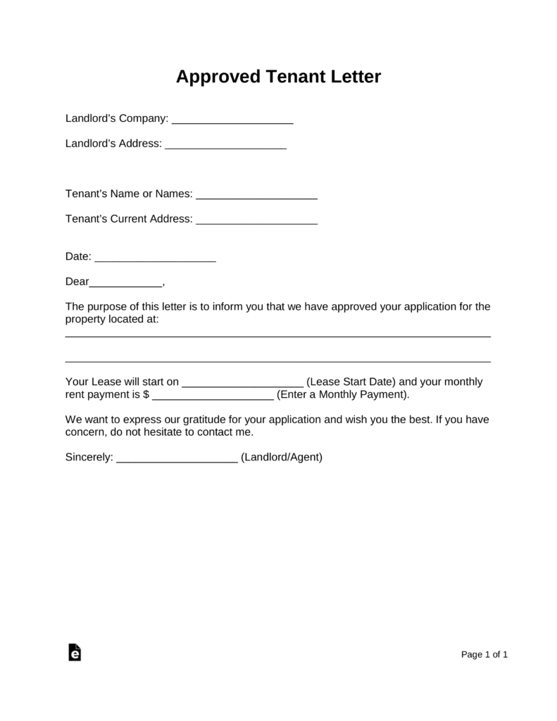Free Rental Application Approval Letter  Word  Pdf  Eforms  Free