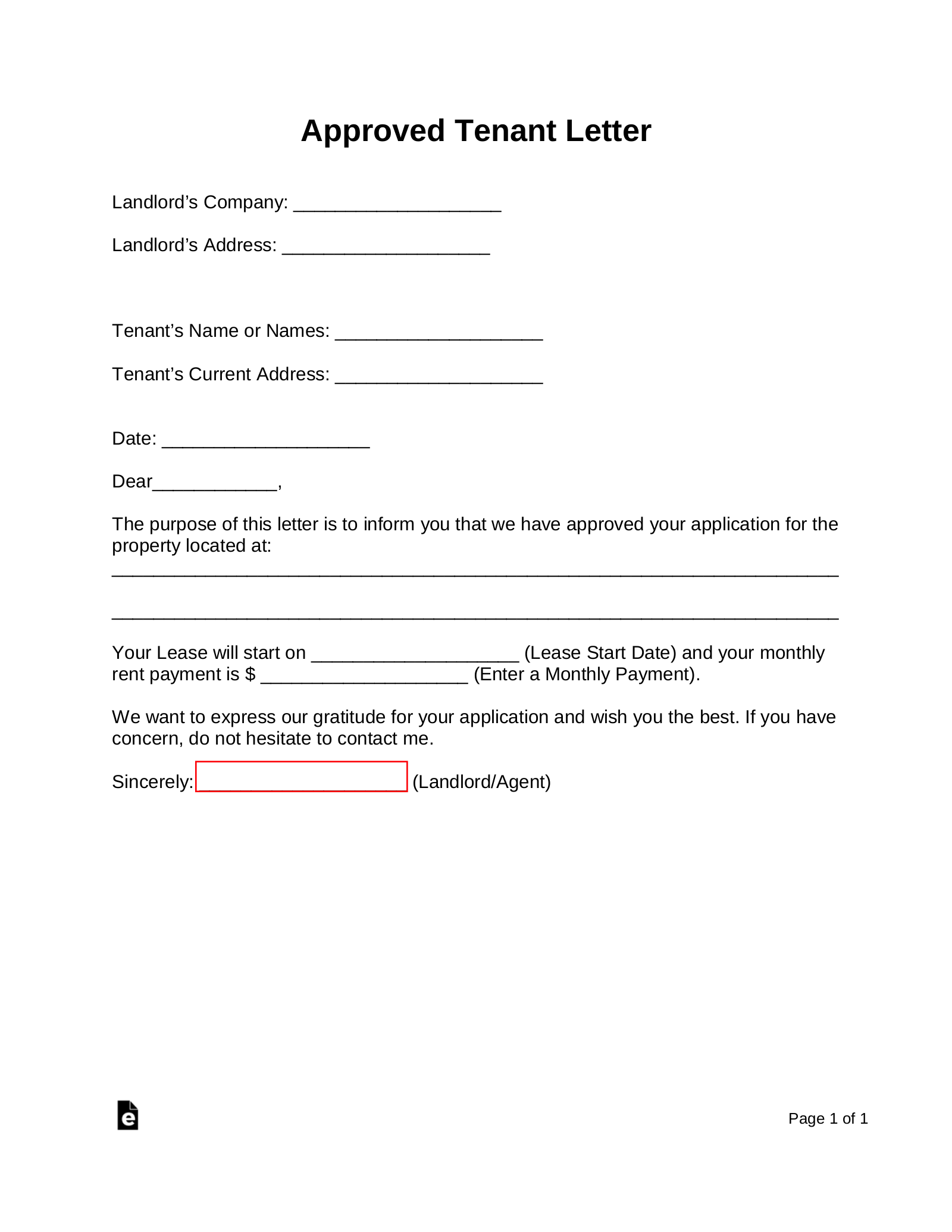 Rental Application Letter To Landlord from eforms.com