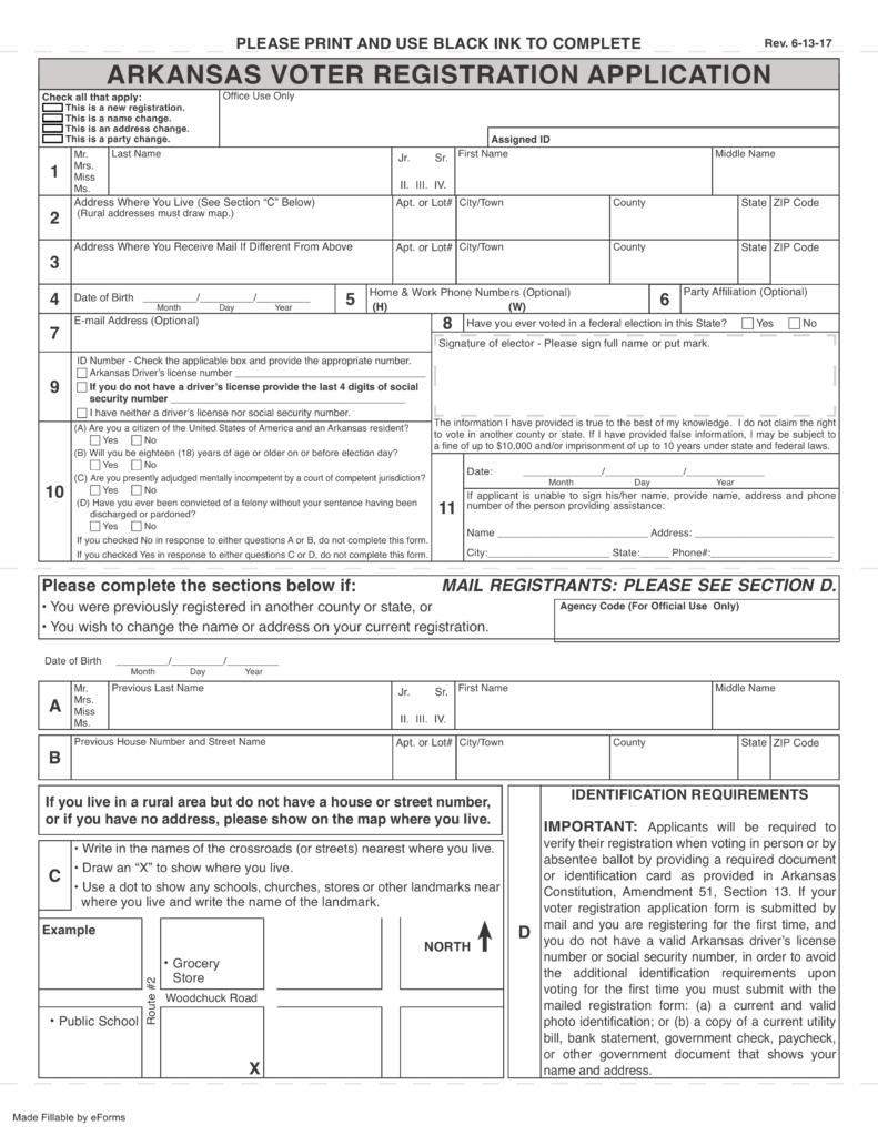 Free Arkansas Voter Registration Form Register To Vote In Ar Pdf