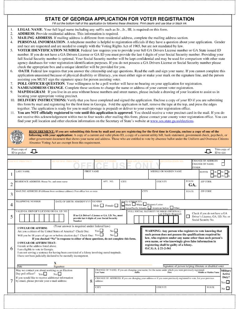 Free Georgia Voter Registration Form - Register to Vote in GA ...