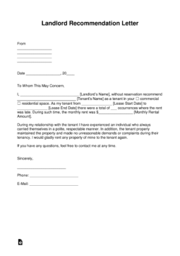 Free Landlord Recommendation Letter For A Tenant With