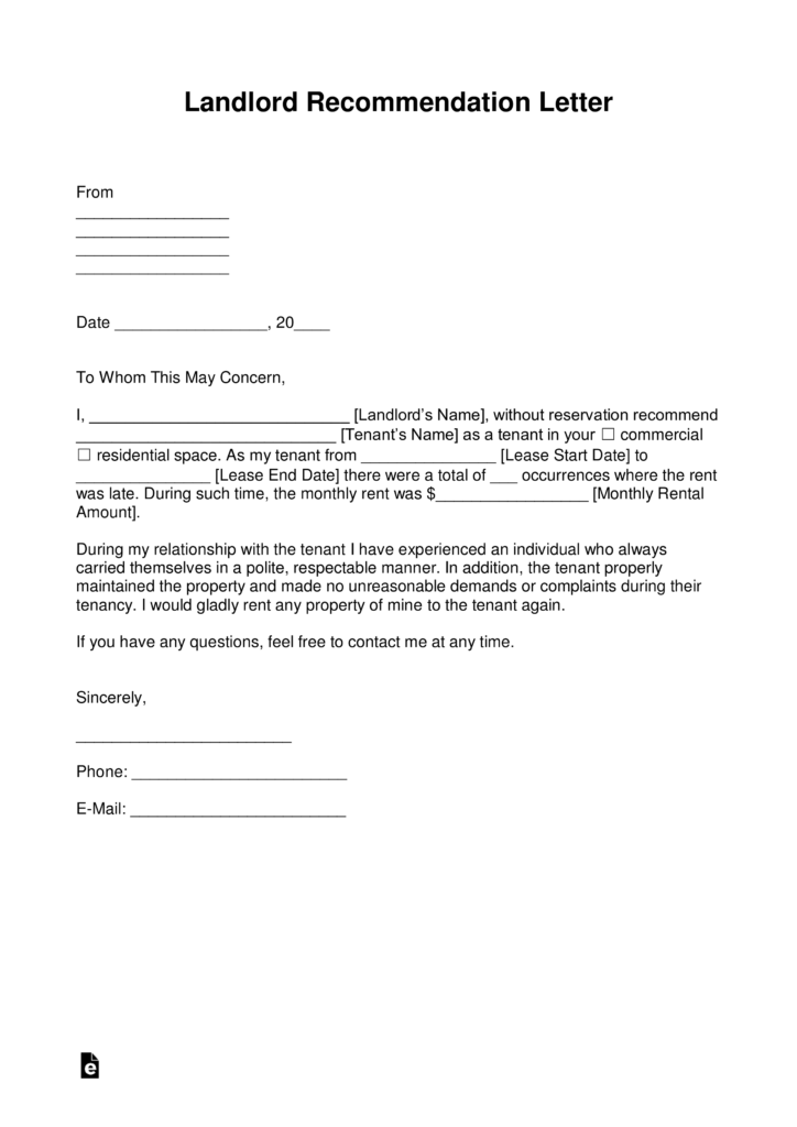 Free Landlord Recommendation Letter (for a Tenant) - with Samples