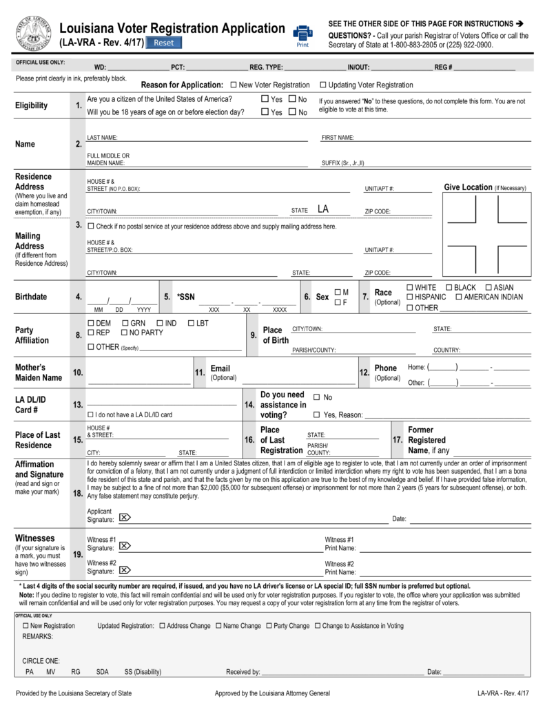 Free louisiana voter registration form register to vote in la free louisiana voter registration form register to vote in la pdf eforms free fillable forms xflitez Image collections