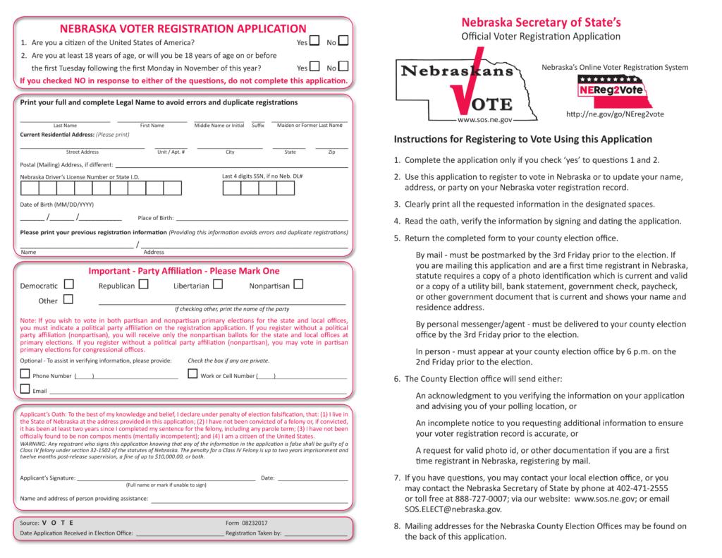 Free Nebraska Voter Registration Form U2013 Register To Vote In NE   PDF |  EForms U2013 Free Fillable Forms