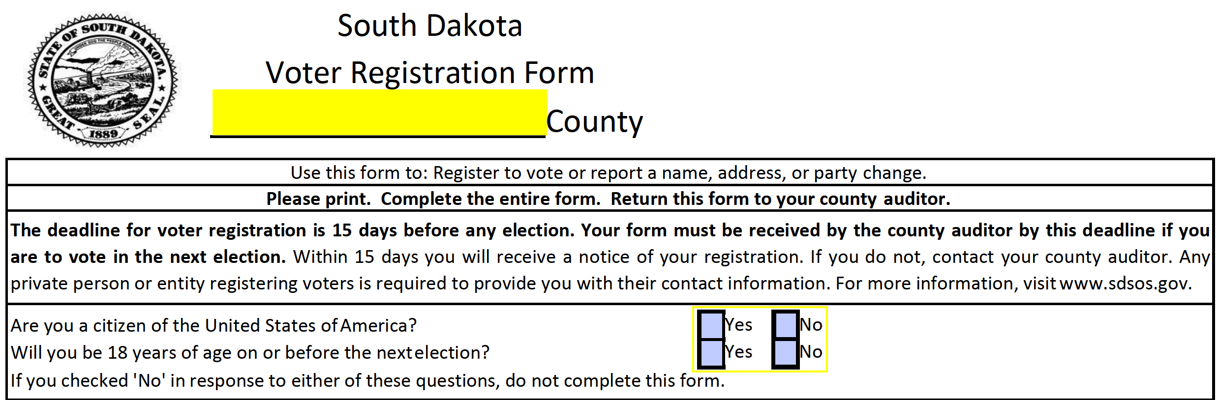 Free south dakota voter registration from register to vote in sd how to write 1betcityfo Gallery
