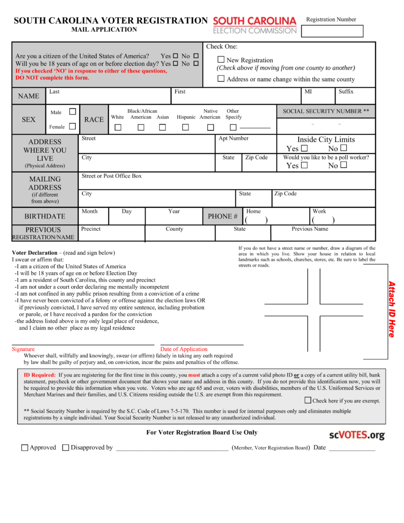 Free South Carolina Voter Registration Form - Register to Vote in ...