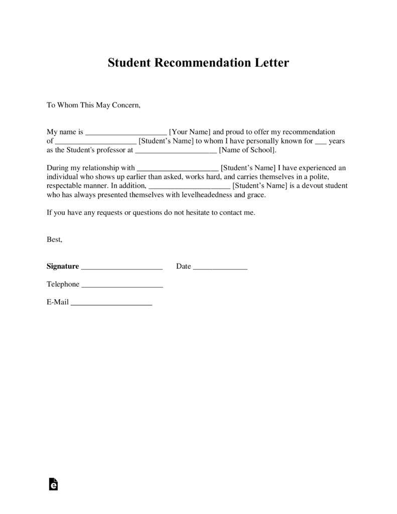 Free Student Re mendation Letter Template with Samples Word