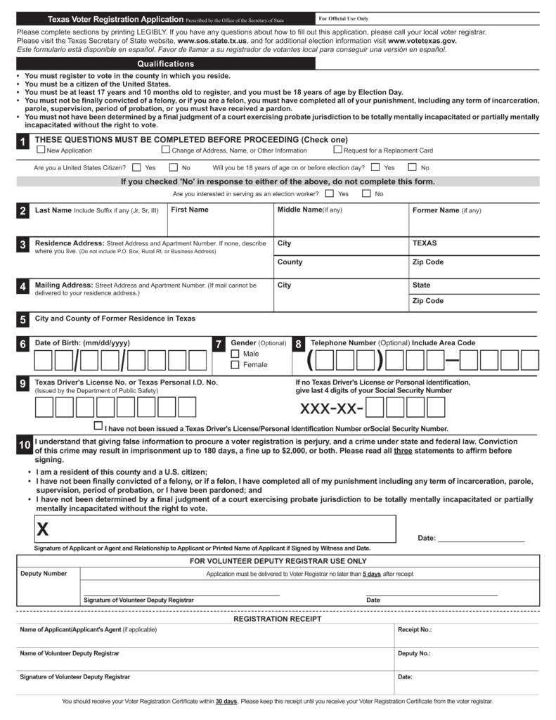 Texas-Voter-Registration-Application-791x1024 Voter Registration Application Form on voter registration deadlines, voter registration background, voter registration transcript, voter registration card a form, voter registration training,