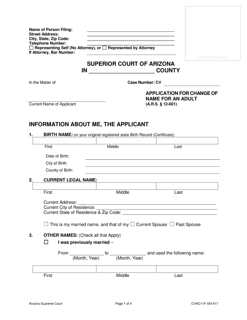 Free Arizona Name Change Forms How To Change Your Name In Az Pdf