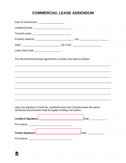 Simple Bill Of Sale >> Free Commercial Lease Addendum Template - PDF | Word | eForms – Free Fillable Forms