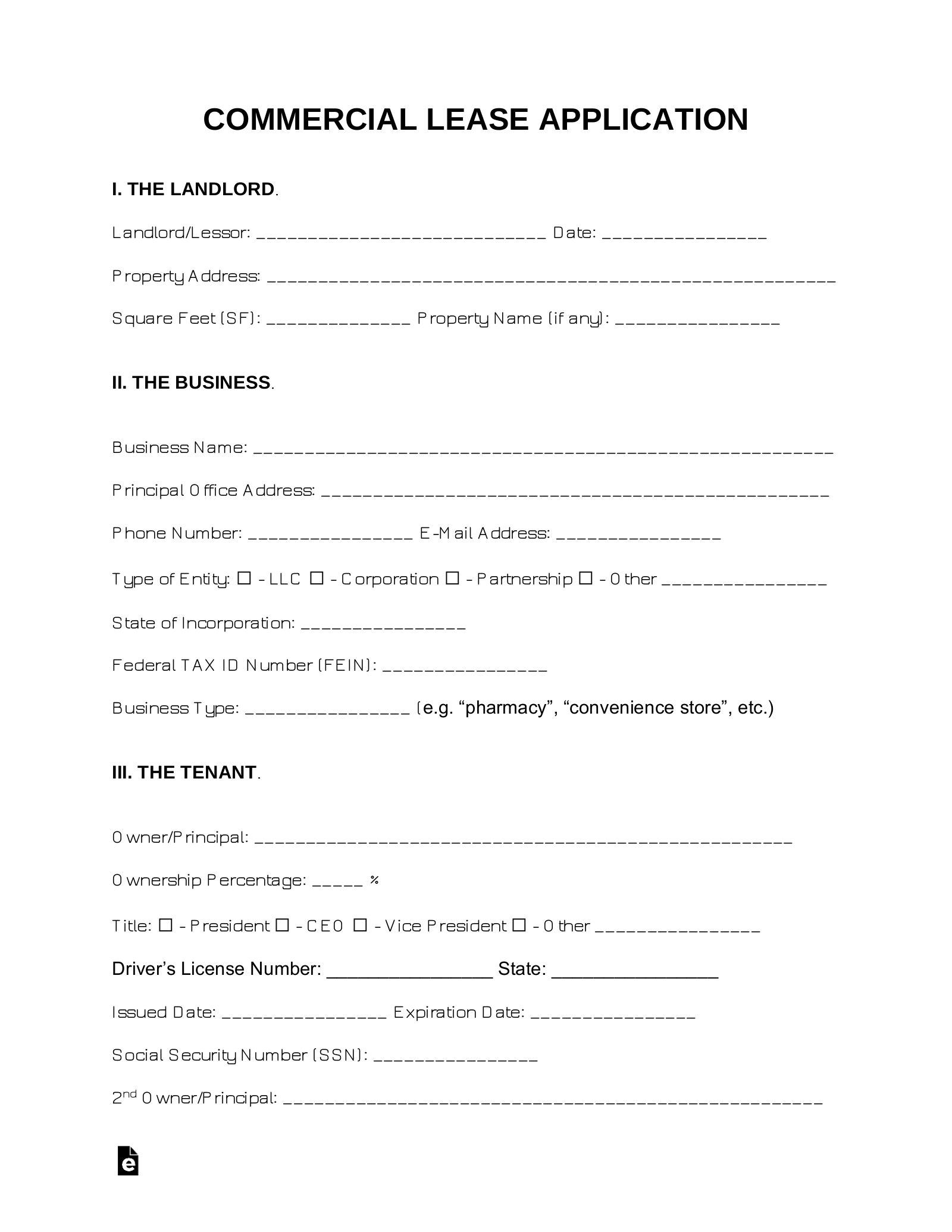 Free Commercial Lease Application Template For A Tenant