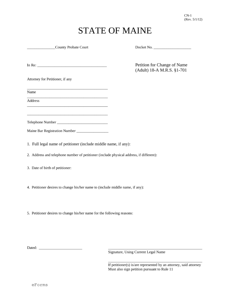 Name Change Form | Free Maine Name Change Forms How To Change Your Name In Me Pdf