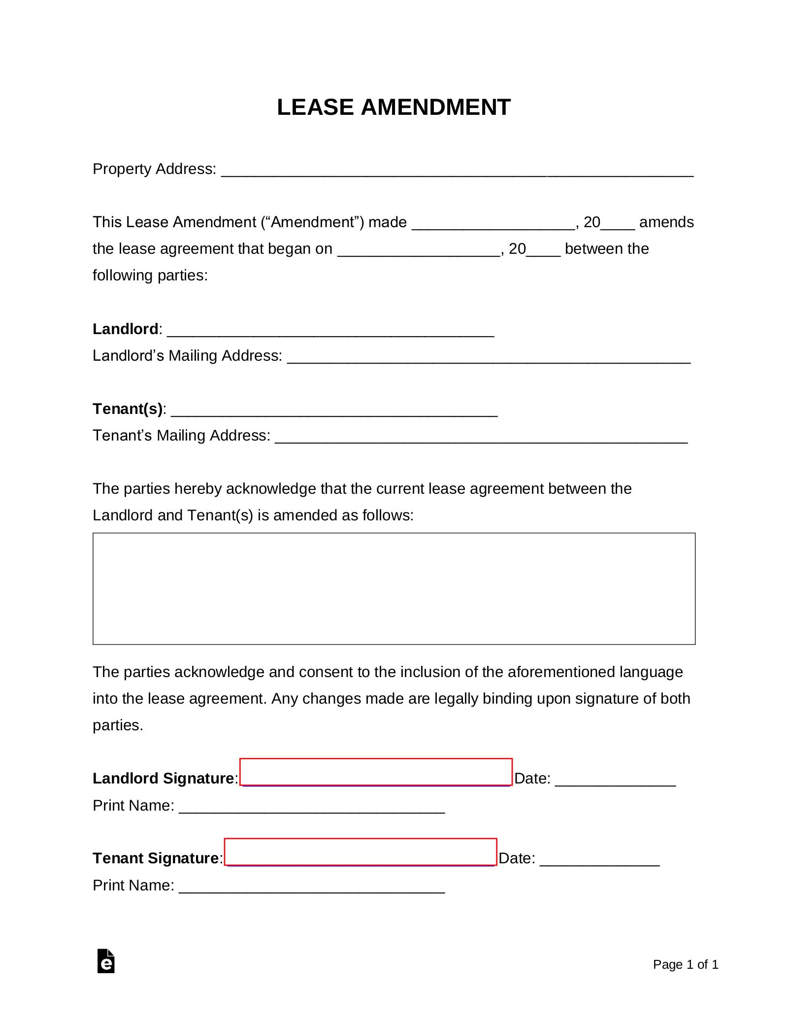 Free Lease Amendment Form Word Pdf Eforms