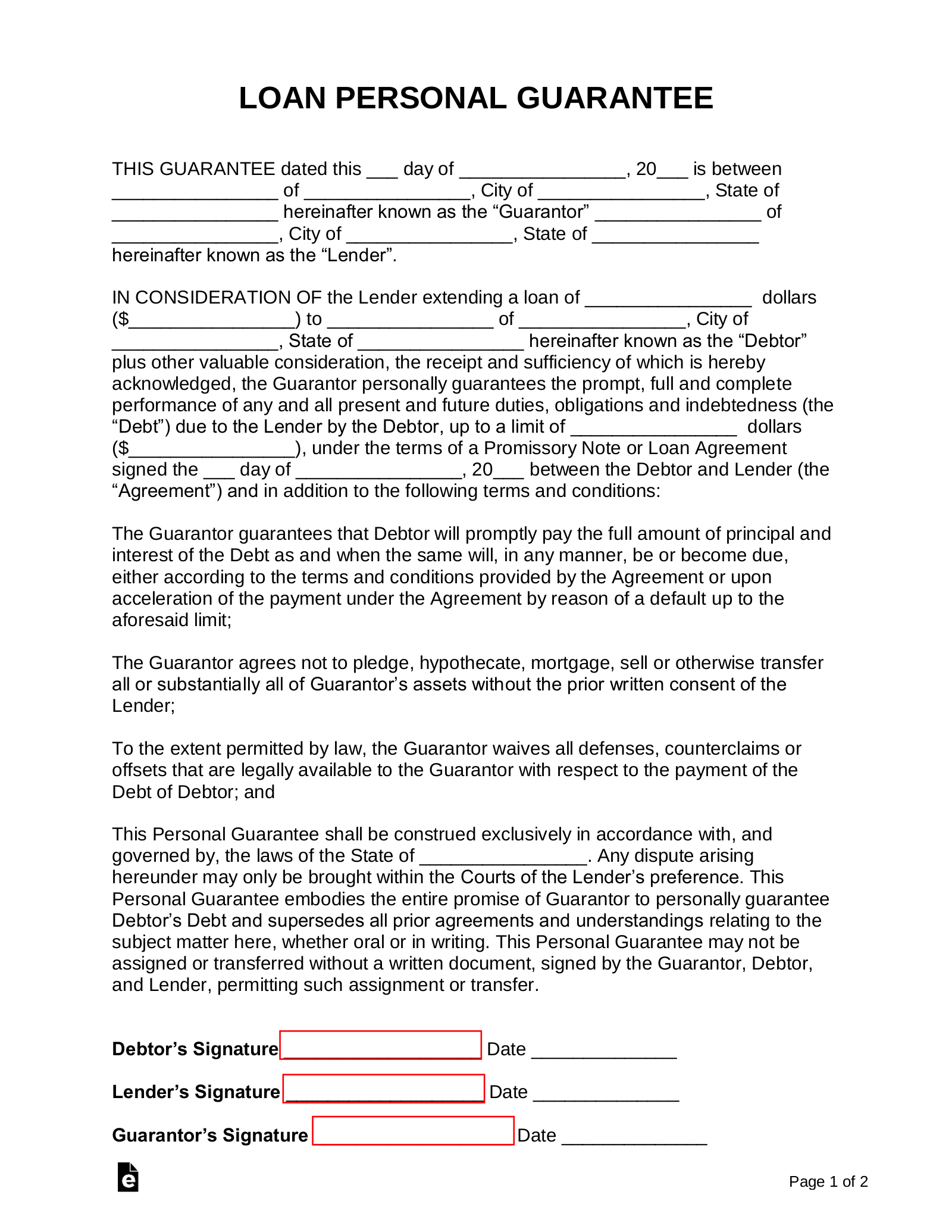 Free Loan Personal Guarantee Form Pdf Word Eforms