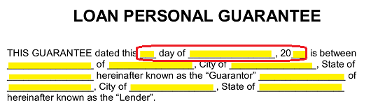 ... Provided So This Form May Apply To The Current Situation. To Begin, Use  The First Three Blank Spaces To Record The Date This Guarantee Goes Into  Effect.