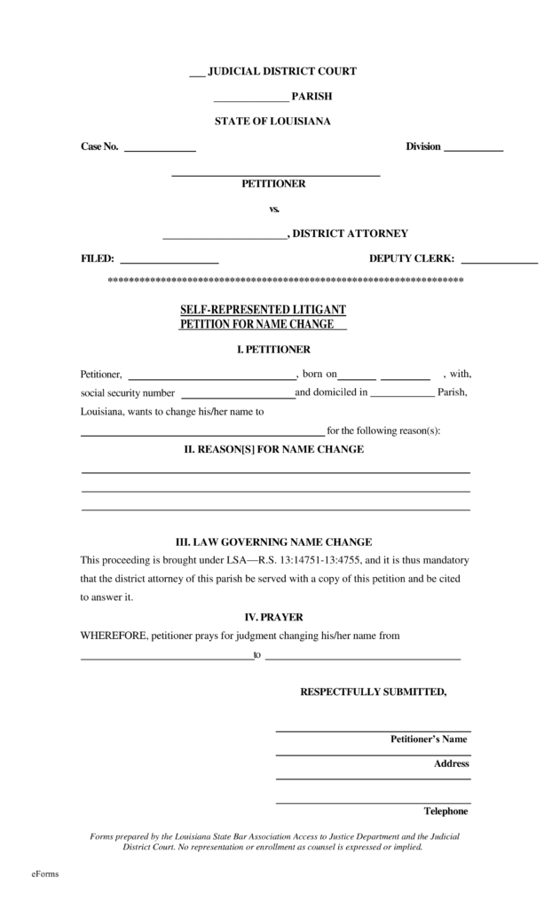 Simple Bill Of Sale >> Free Louisiana Name Change Forms - How to Change Your Name in LA - PDF | eForms – Free Fillable ...