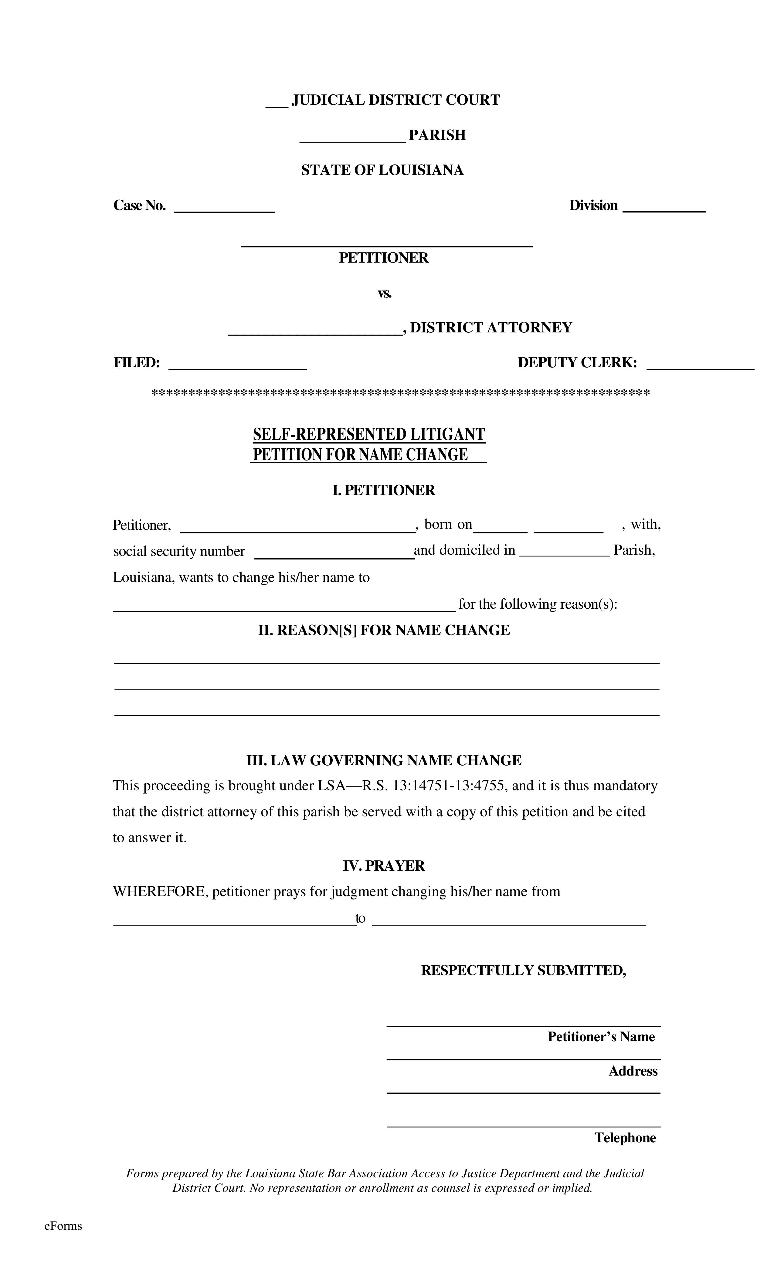 Free Louisiana Name Change Forms - How to Change Your Name