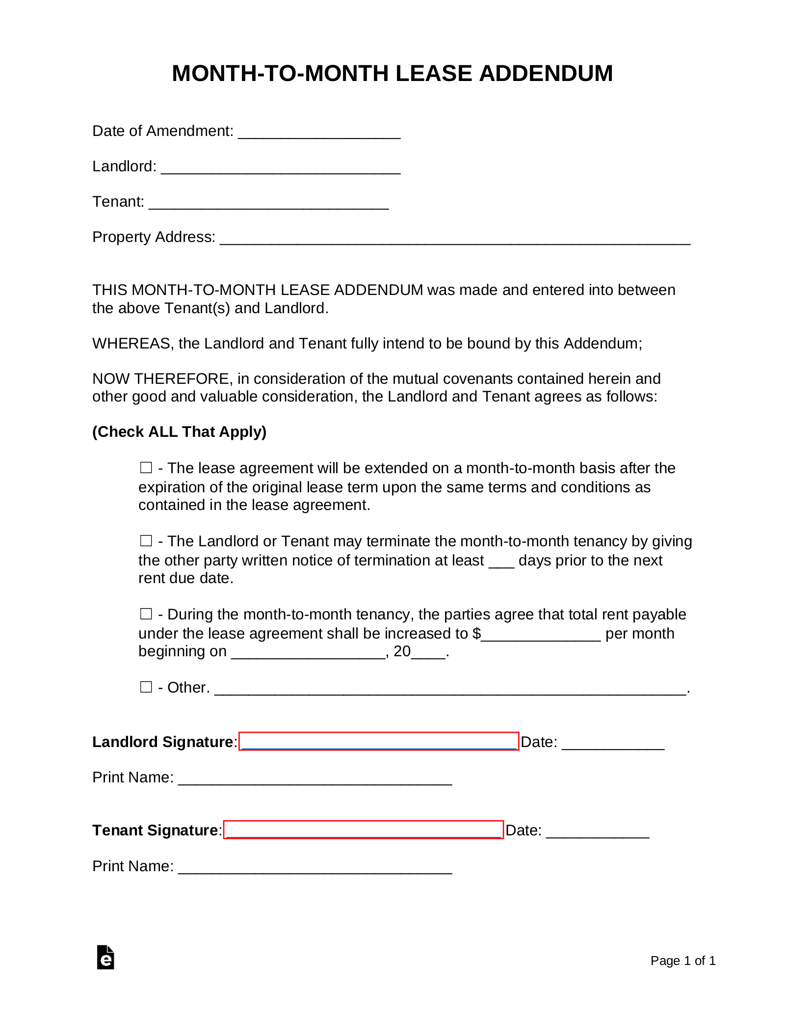 Month To Month Lease >> Free Month To Month Lease Addendum Template Pdf Word
