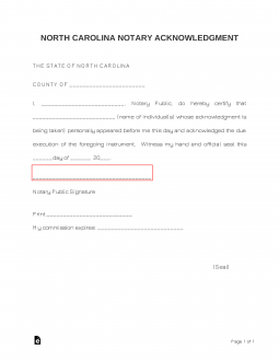 Bill Of Sale Kansas >> Free North Carolina Notary Acknowledgment Form - PDF ...