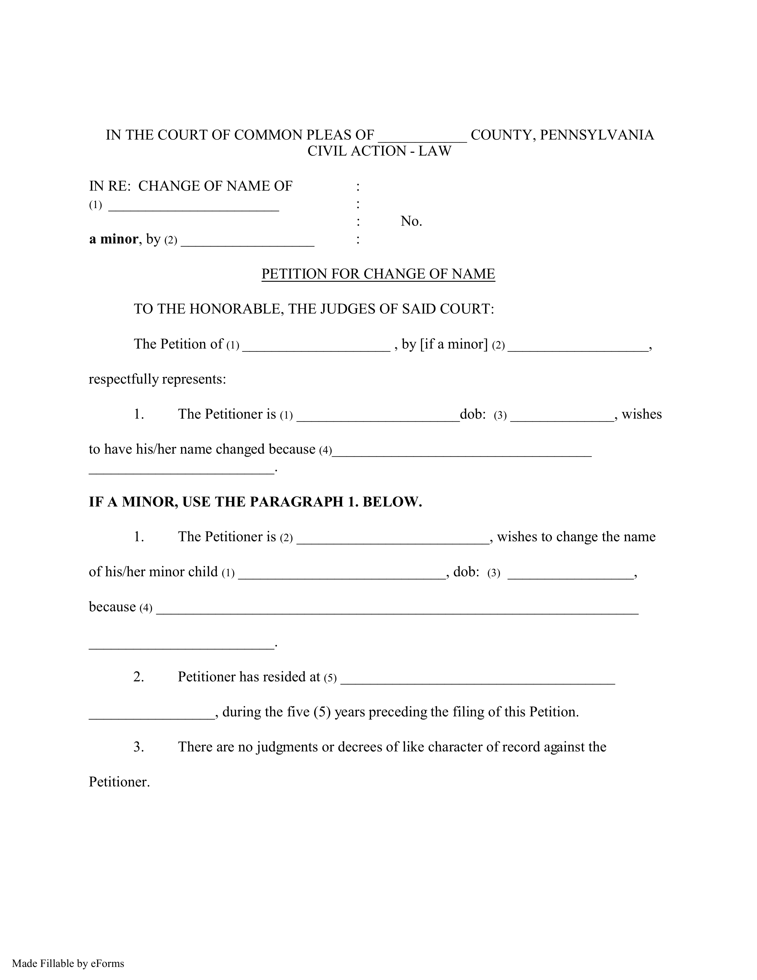 Free Pennsylvania Name Change Forms How To Change Your Name In Pa Pdf Eforms Free Fillable Forms