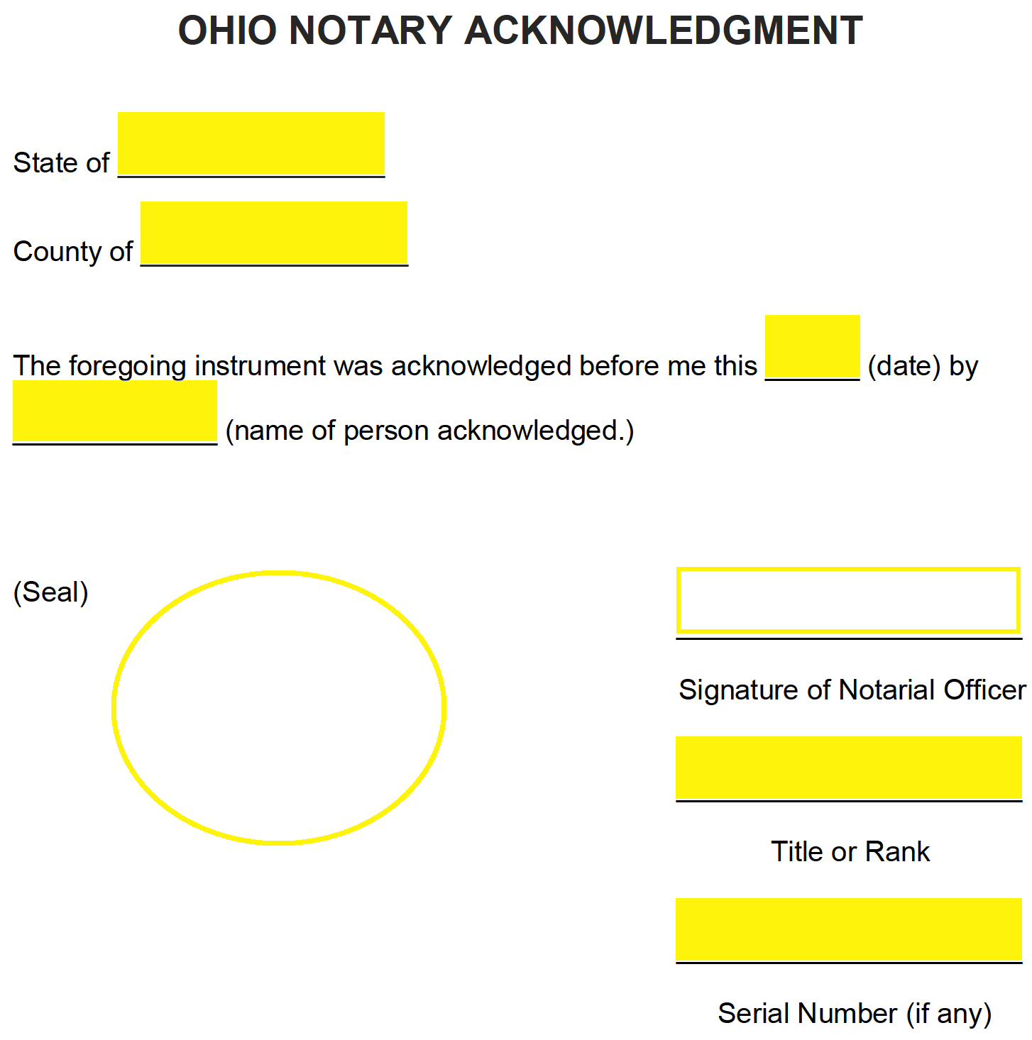 free ohio notary acknowledgment form
