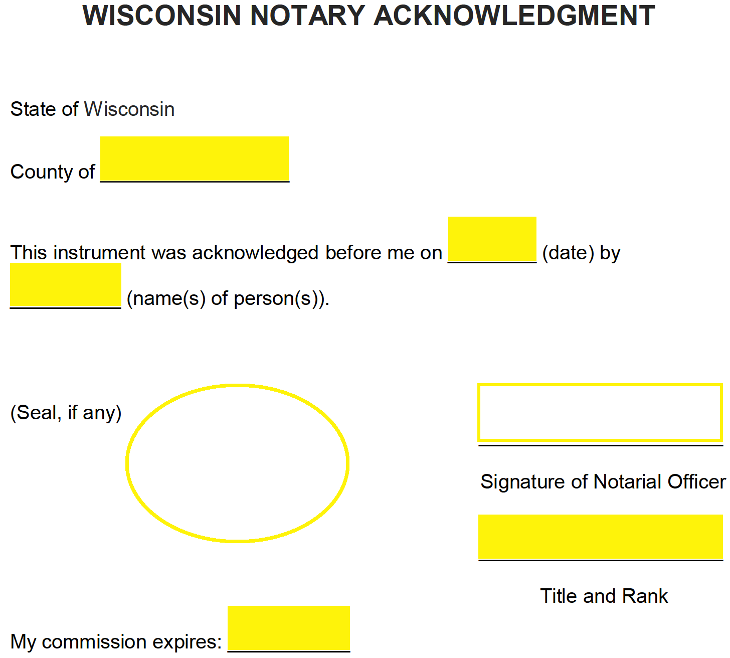 free wisconsin notary acknowledgment form pdf word eforms