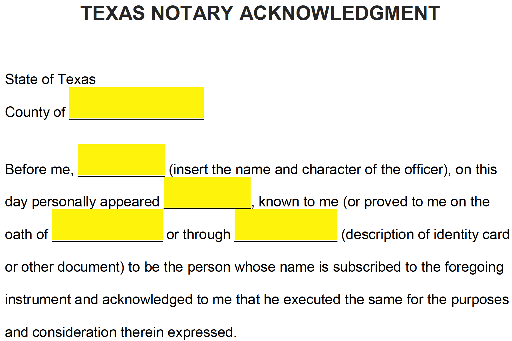Free Texas Notary Acknowledgement Form Pdf Word Eforms Free