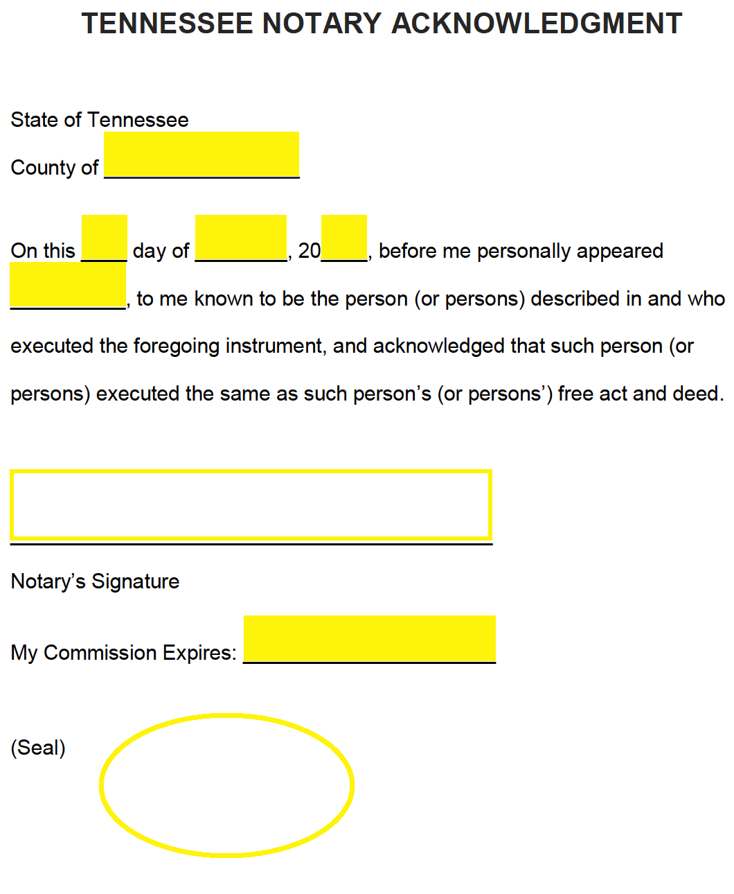 free tennessee notary acknowledgment form