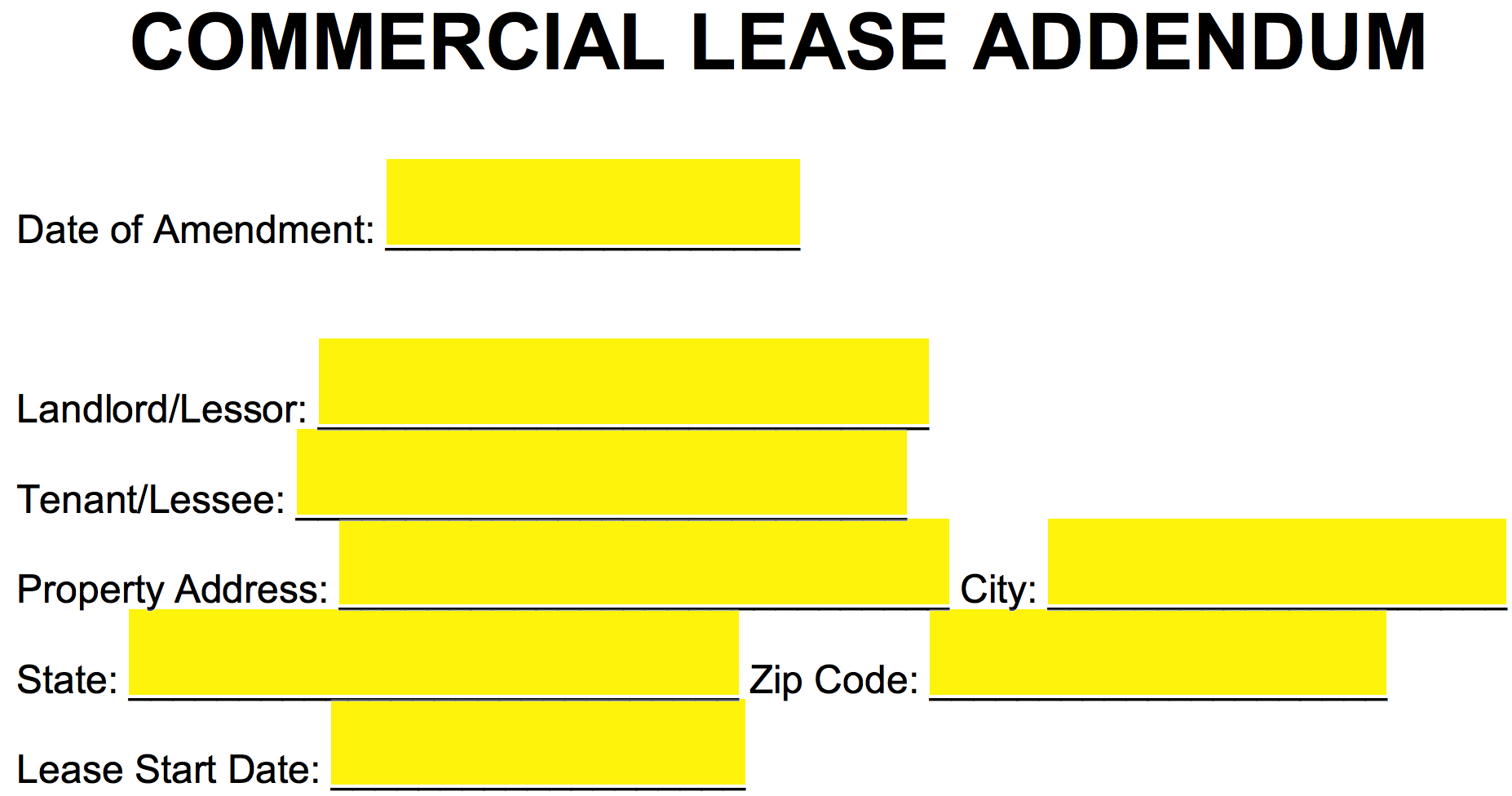 Free Commercial Lease Addendum Template Pdf Word