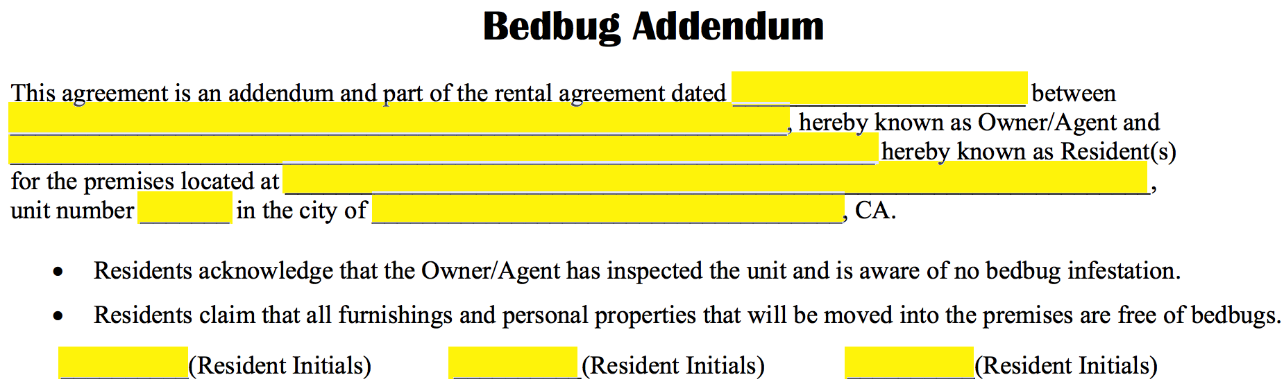 Free bed bug lease addendum template pdf eforms free fillable step 3 the three 3 signature fields on the left should be used to record the signatures of the residents and of the owneragent spiritdancerdesigns Gallery