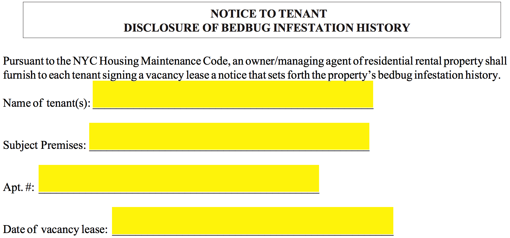Free bed bug lease addendum template pdf eforms free fillable step 3 select the appropriate box to inform the tenant of the rental units bed bug history if eradication measures were taken on a specific floor spiritdancerdesigns Gallery