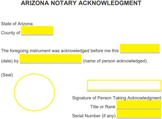 free arizona notary acknowledgment form