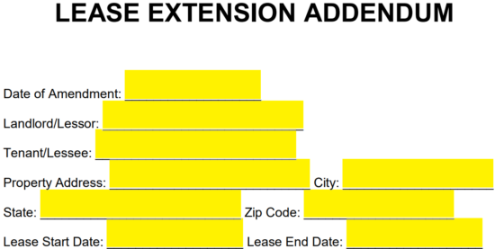 Free Lease Extension Addendum Template Word Pdf Eforms Free