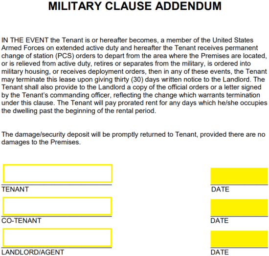 Military Lease Termination Letter Example from eforms.com